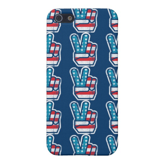 Peace Sign US Flag Case Savvy Matte Finish iPhone 5/5S Case