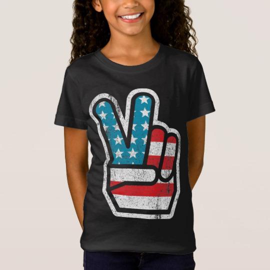 Peace Sign US Flag Girls' Fine Jersey T-Shirt