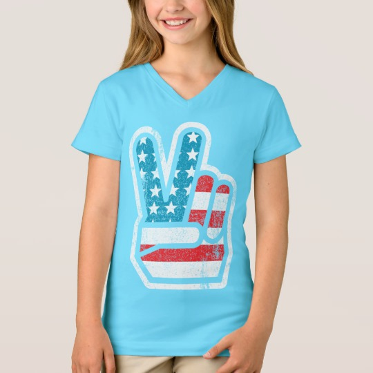 Peace Sign US Flag Girls' Fine Jersey V-Neck T-Shirt