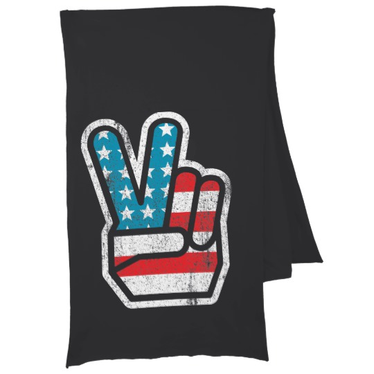Peace Sign US Flag Jersey Scarf