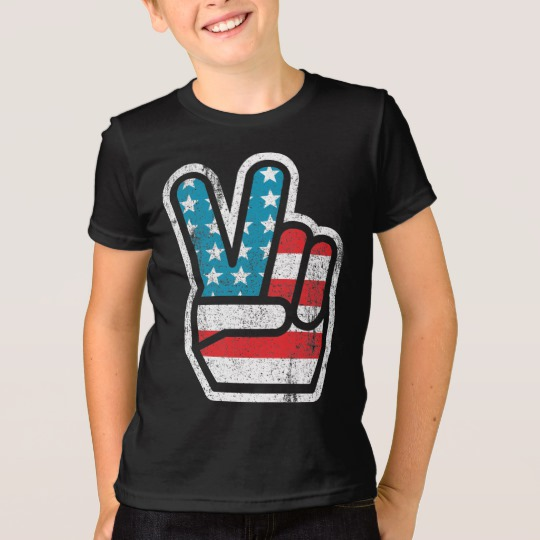 Peace Sign US Flag Kids' American Apparel Fine Jersey T-Shirt