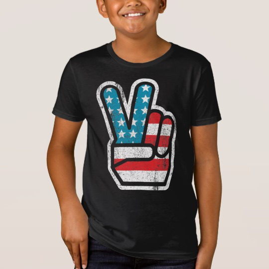 Peace Sign US Flag Kids' American Apparel Organic T-Shirt