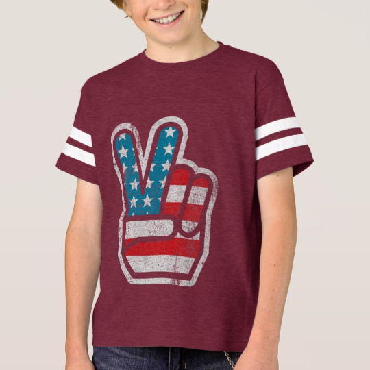 Peace Sign US Flag Kids' Football Shirt