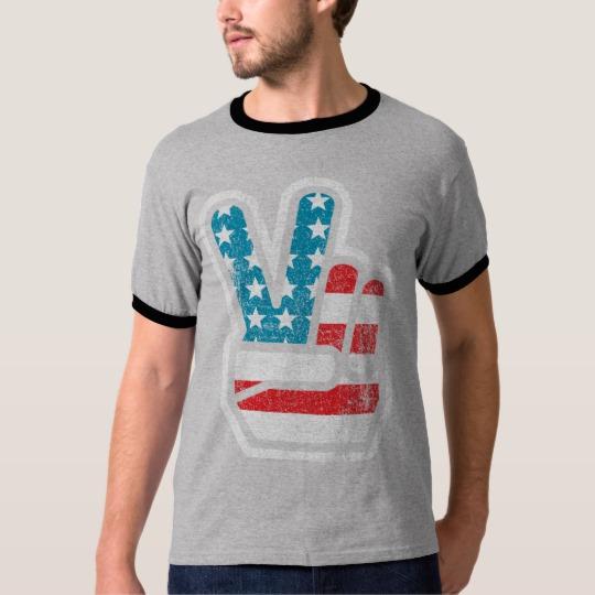 Peace Sign US Flag Men's Basic Ringer T-Shirt