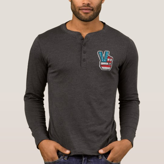 Peace Sign US Flag Men's Bella+Canvas Henley Long Sleeve Shirt
