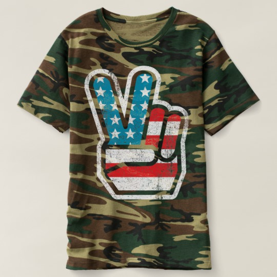 Peace Sign US Flag Men's Camouflage T-Shirt
