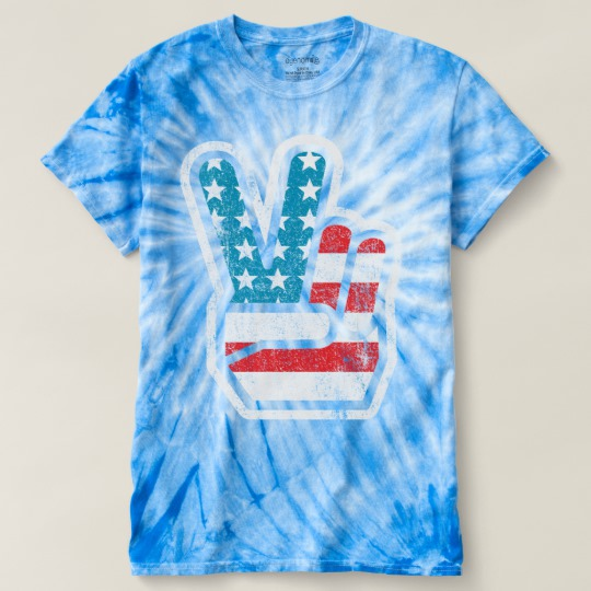 Peace Sign US Flag Men's Cyclone Tie-Dye T-Shirt