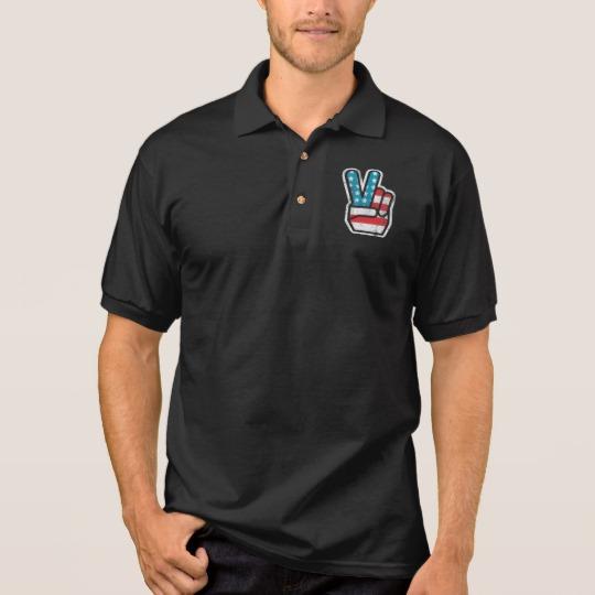 Peace Sign US Flag Men's Gildan Jersey Polo Shirt