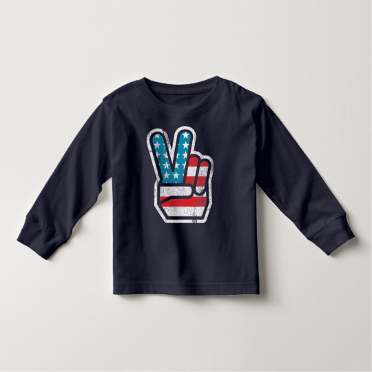 Peace Sign US Flag Toddler Long Sleeve T-Shirt
