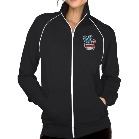 Peace Sign US Flag Women's American Apparel California Fleece Track Jacket
