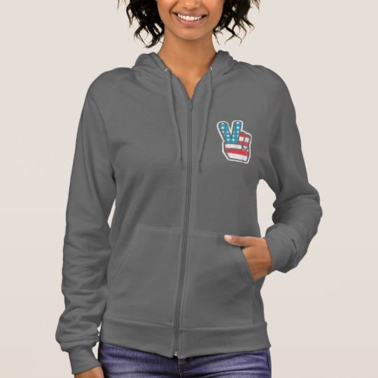 Peace Sign US Flag Women's American Apparel California Fleece Zip Hoodie