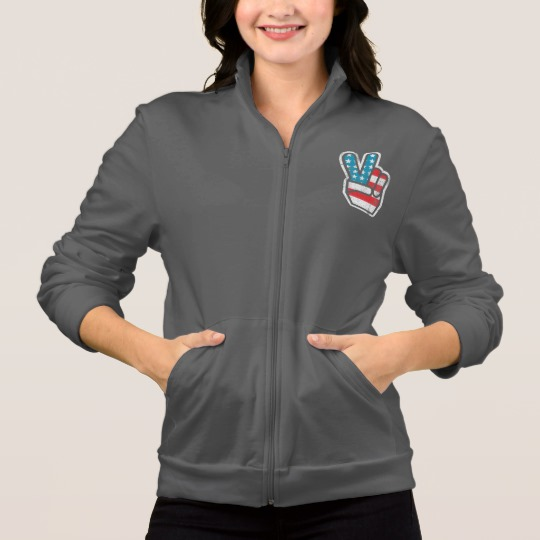 Peace Sign US Flag Women's American Apparel California Fleece Zip Jogger