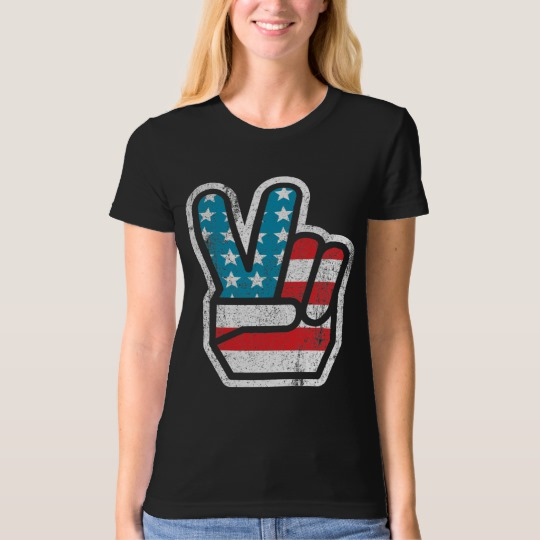 Peace Sign US Flag Women's American Apparel Organic T-Shirt