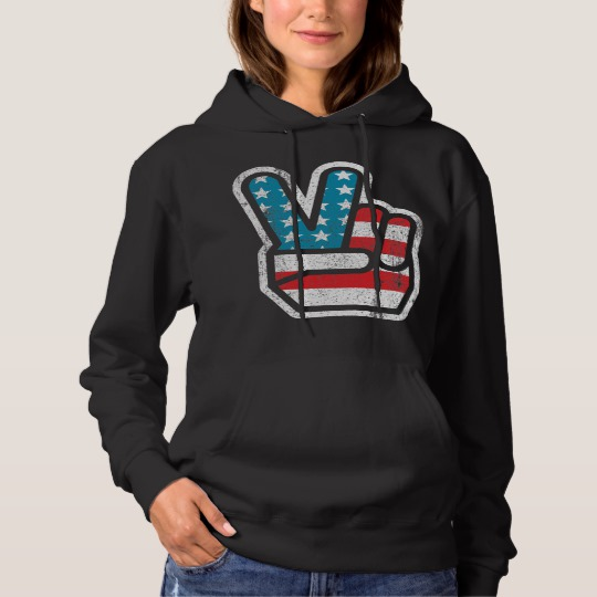 Peace Sign US Flag Women's Basic Hooded Sweatshirt