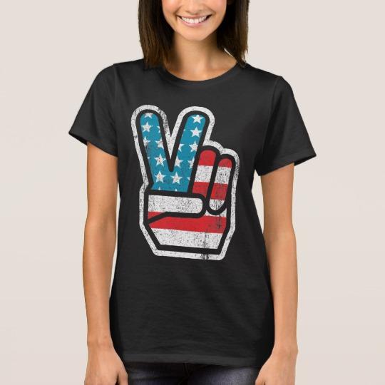 Peace Sign US Flag Women's Basic T-Shirt