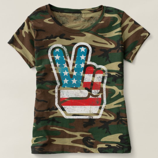 Peace Sign US Flag Women's Camouflage T-Shirt