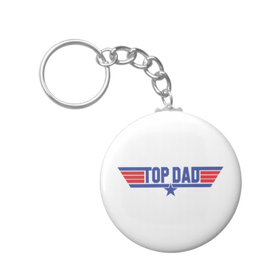 Top Dad Basic Button Keychain