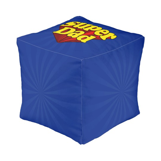 "Super Dad Small Polyester Cube Pouf (13"" x 13"" x 13"")"