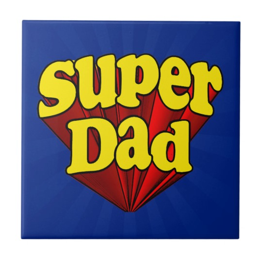 Super Dad Small Square Tile