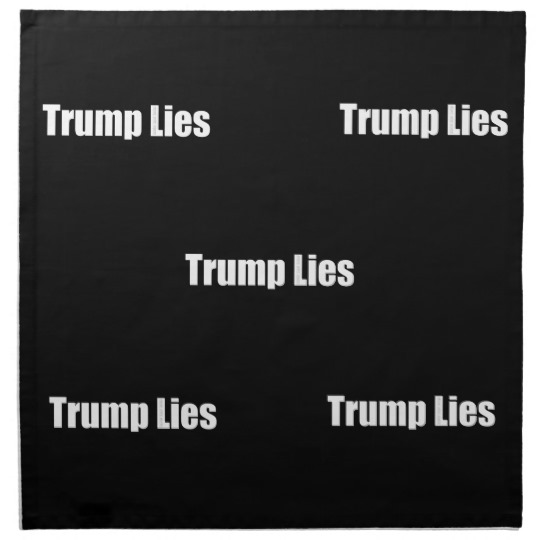 "Trump Lies Cloth Napkins (set of 4) dinner 20"" x 20"""
