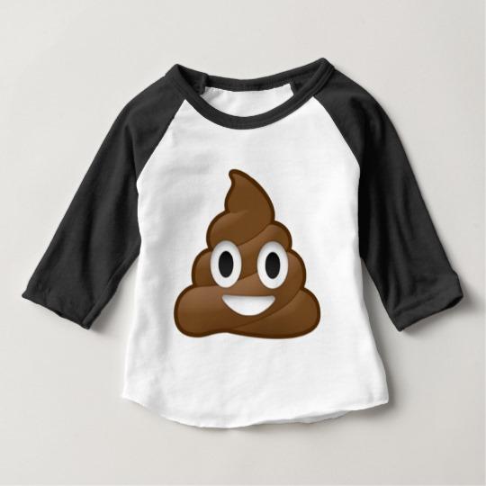 Smiling Poop Emoji Baby American Apparel 3/4 Sleeve Raglan T-Shirt