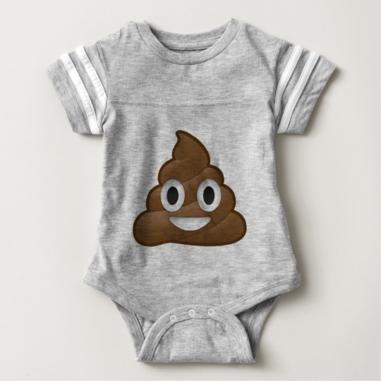 Smiling Poop Emoji Baby Football Bodysuit