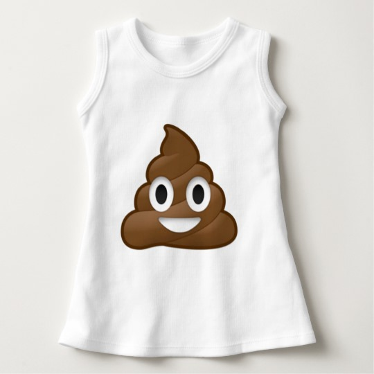 Smiling Poop Emoji Baby Sleeveless Dress