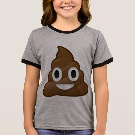 Smiling Poop Emoji Girl's Ringer T-Shirt