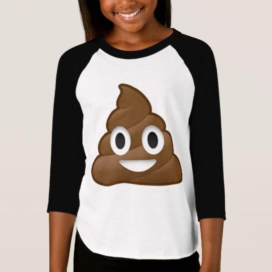Smiling Poop Emoji Girls' American Apparel 3/4 Sleeve Raglan T-Shirt