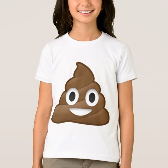 Smiling Poop Emoji Girls' American Apparel Fine Jersey T-Shirt