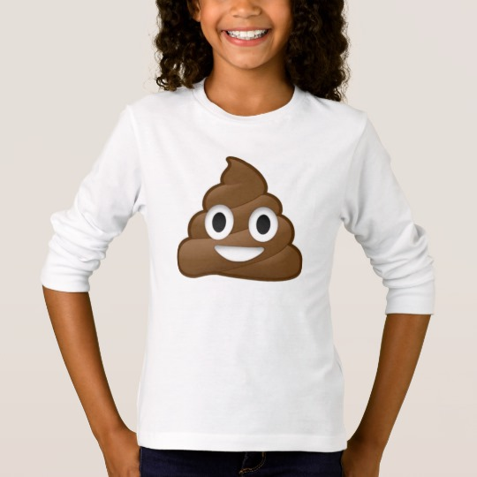 Smiling Poop Emoji Girls' Basic Long Sleeve T-Shirt