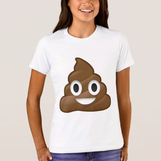 Smiling Poop Emoji Girls' Bella+Canvas Crew T-Shirt