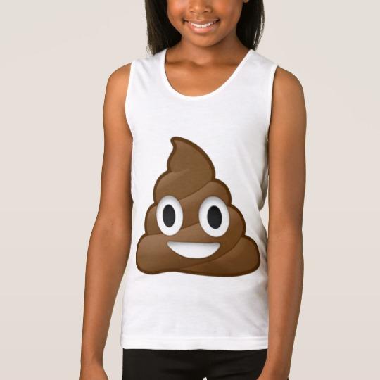 Smiling Poop Emoji Girls' Fine Jersey Tank Top