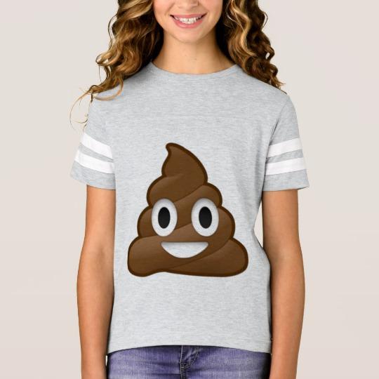Smiling Poop Emoji Girls' Football Shirt