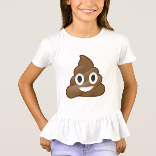 Smiling Poop Emoji Girls' Ruffle T-Shirt