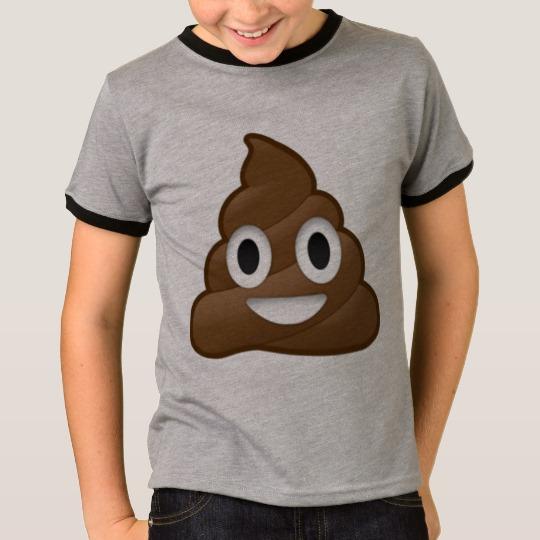 Smiling Poop Emoji Kids' Basic Ringer T-Shirt