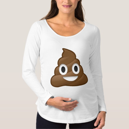 Smiling Poop Emoji Maternity Long Sleeve T-Shirt