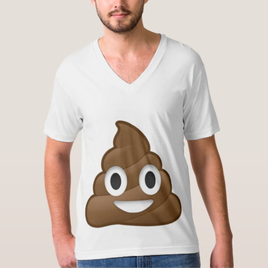 Smiling Poop Emoji Men's American Apparel Fine Jersey V-neck T-Shirt