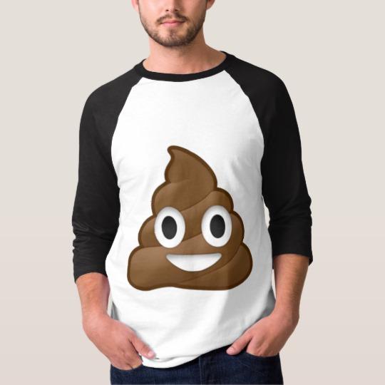 Smiling Poop Emoji Men's Basic 3/4 Sleeve Raglan T-Shirt