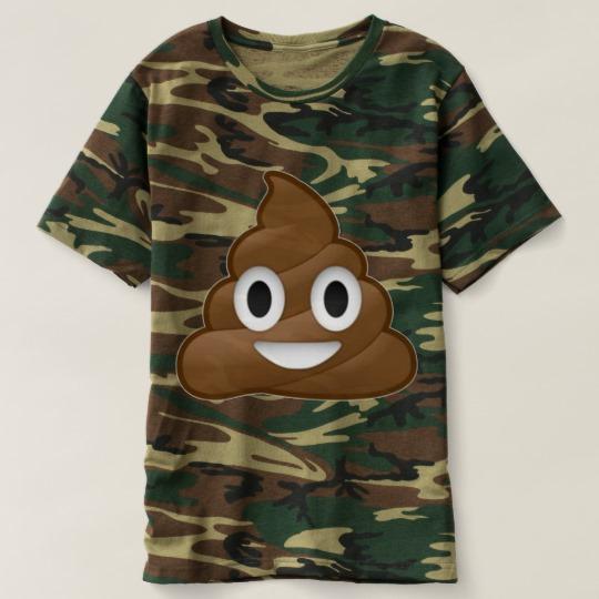 Smiling Poop Emoji Men's Camouflage T-Shirt