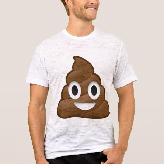 Smiling Poop Emoji Men's Canvas Fitted Burnout T-Shirt