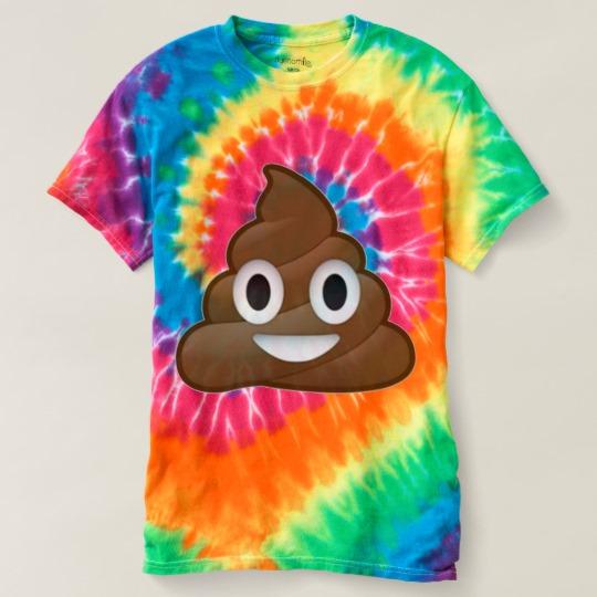 Smiling Poop Emoji Men's Spiral Tie-Dye T-Shirt