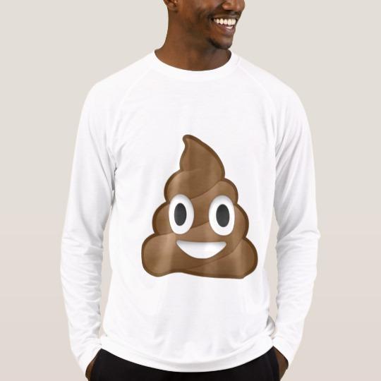 Smiling Poop Emoji Men's Sport-Tek Fitted Performance Long Sleeve T-Shirt