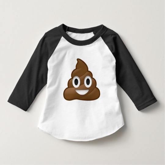 Smiling Poop Emoji Toddler American Apparel 3/4 Sleeve Raglan T-Shirt