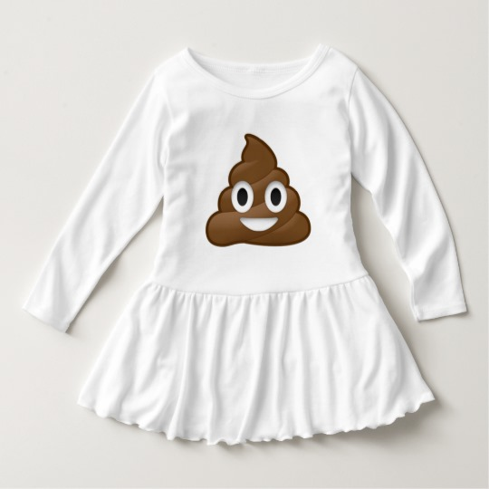 Smiling Poop Emoji Toddler Ruffle Dress
