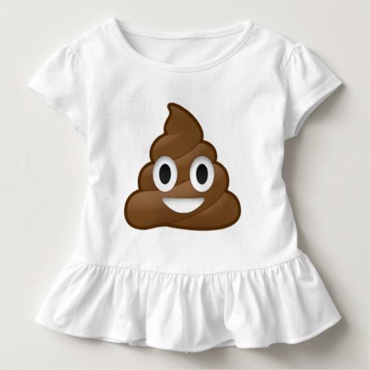 Smiling Poop Emoji Toddler Ruffle Tee