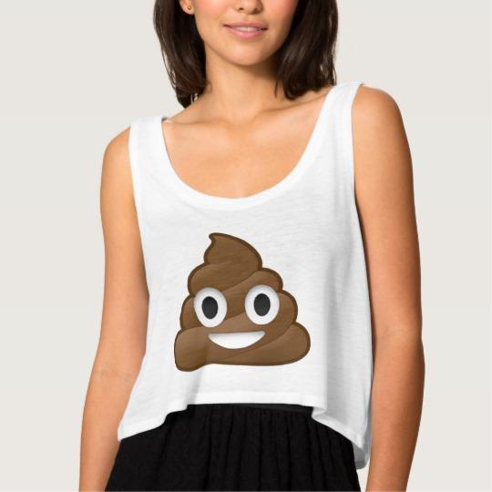 Smiling Poop Emoji Women's Bella+Canvas Flowy Crop Tank Top