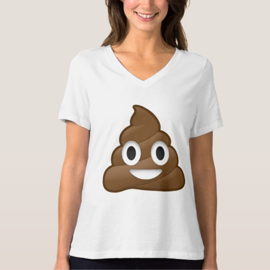 Smiling Poop Emoji Women's Bella+Canvas Relaxed Fit V-Neck T-Shirt