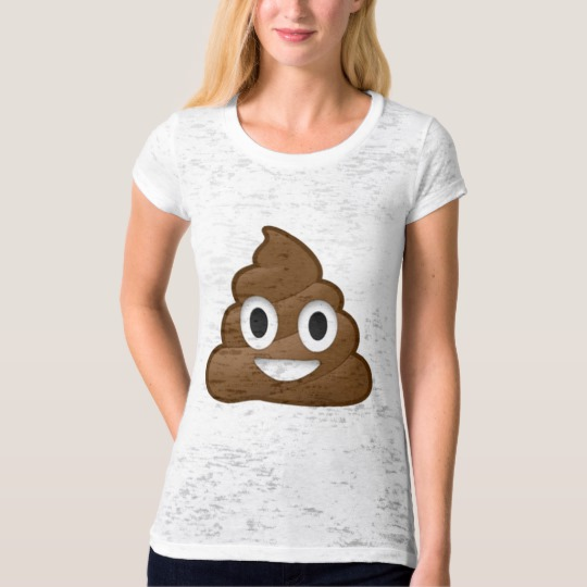 Smiling Poop Emoji Women's Canvas Fitted Burnout T-Shirt