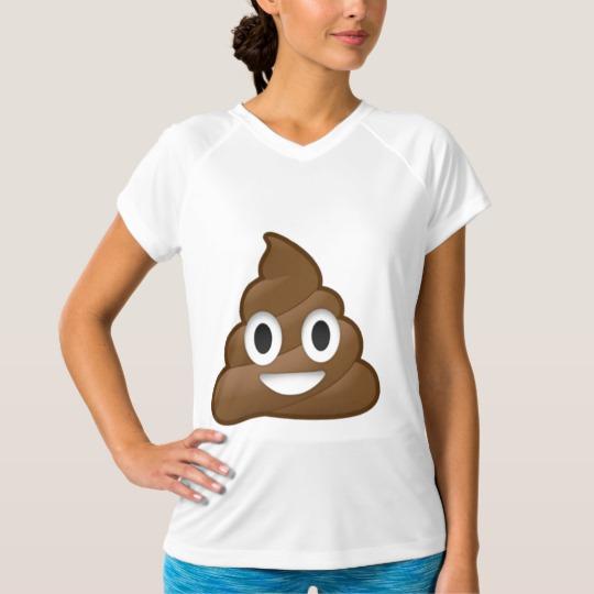 Smiling Poop Emoji Women's Champion Double-Dry V-Neck T-Shirt
